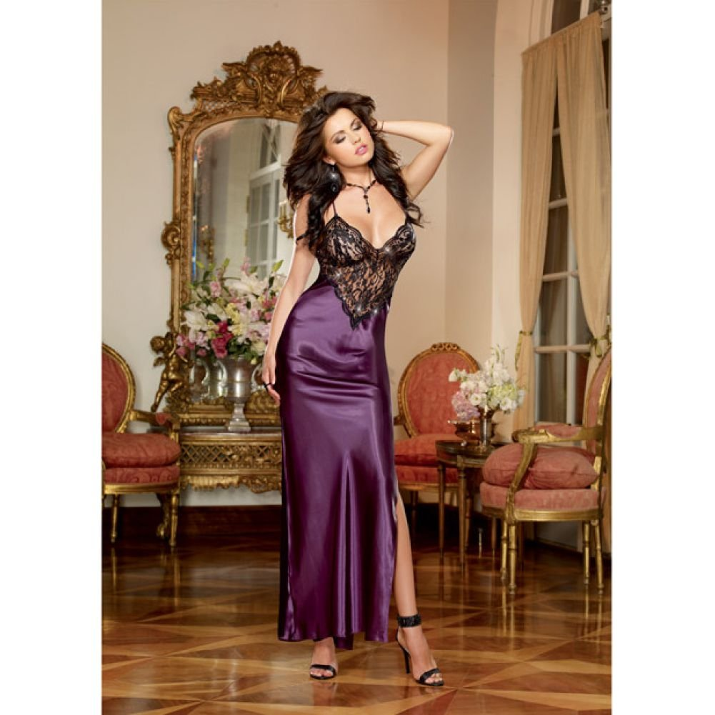 Dreamgirl Lingerie Satin Charmeuse Full Length Gown Criss Cross StrapsThong X-Large Plum - View #1