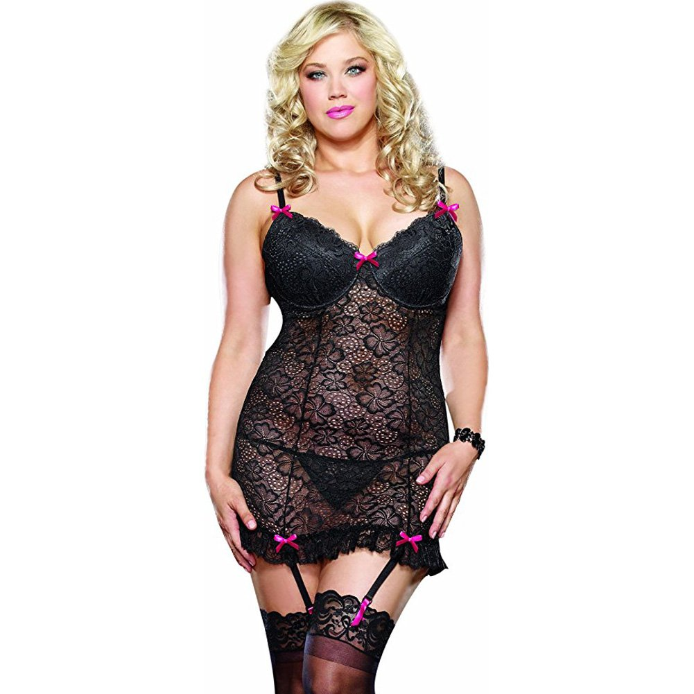 Dreamgirl Lingerie Stretch Lace Underwire Garter Slip Removable Straps Thong 3X/4X Black - View #1