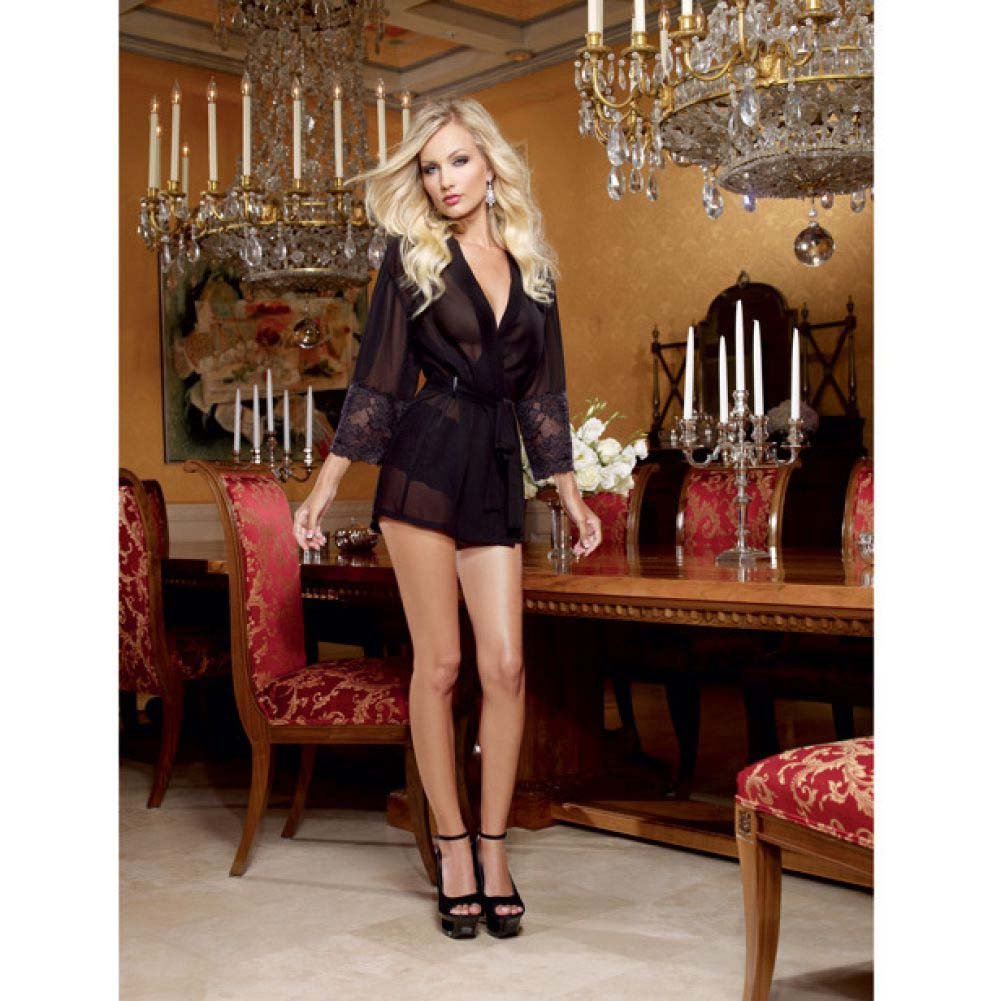 Dreamgirl Chiffon Stretch Lace Short Length Kimono Robe and Cheeky Panty Medium Black - View #3
