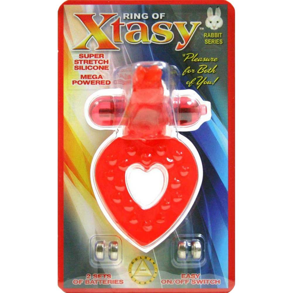 Golden Triangle Ring of Xtasy Rabbit Heart Vibrating Cock Ring Red - View #1