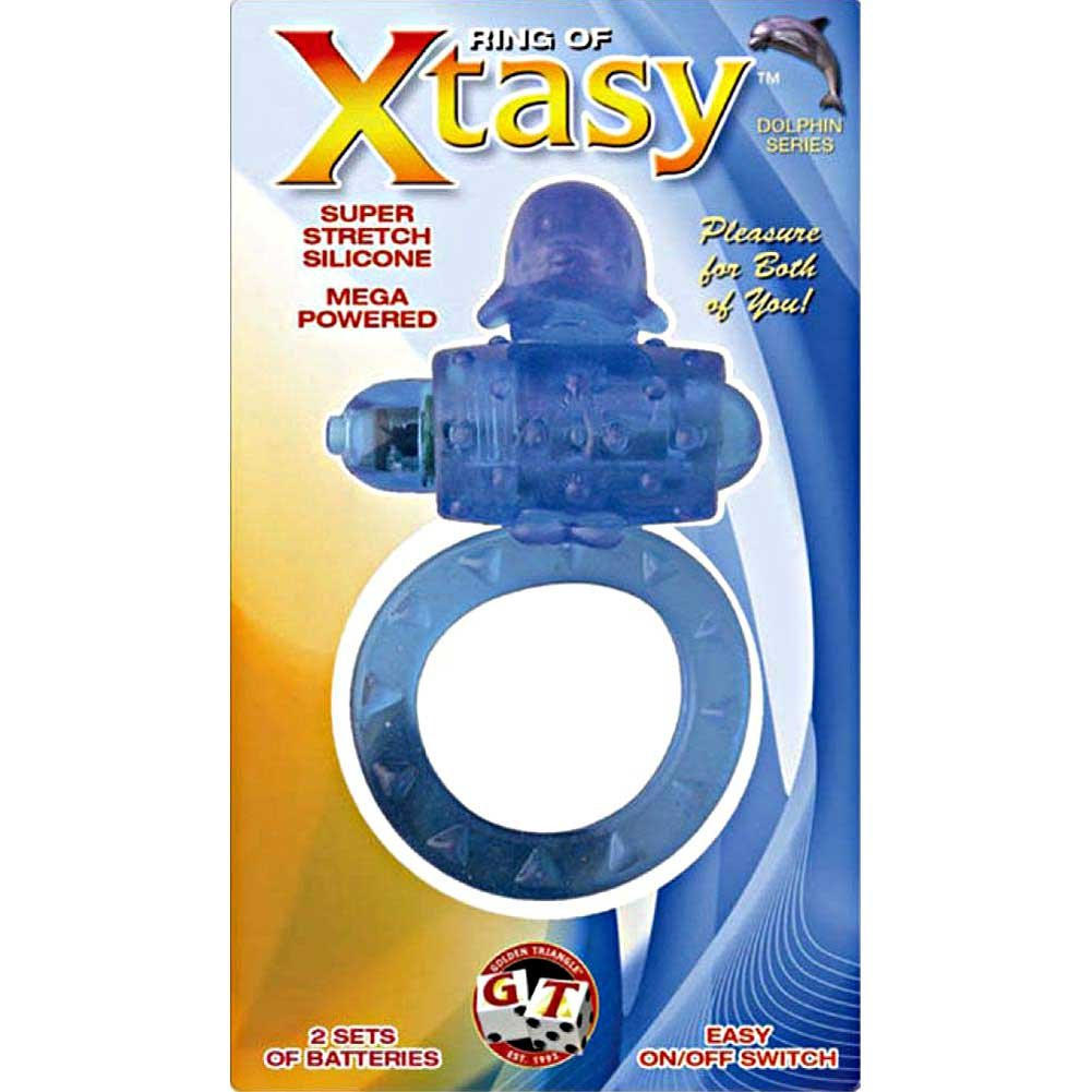 Ring of Xtasy Vibrating Cock Ring Blue Dolphin - View #1