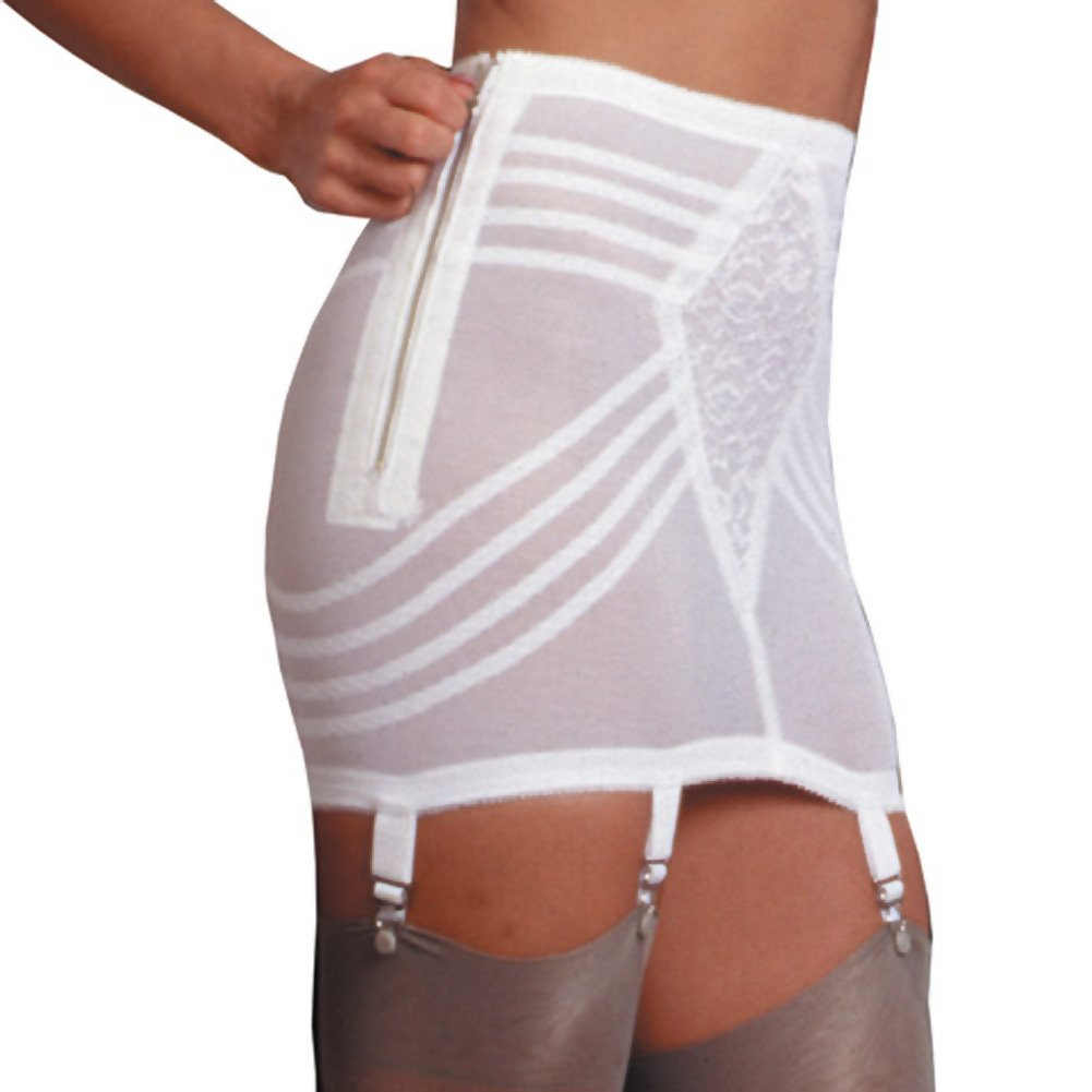 Rago Shapewear Zippered Open Bottom Girdle White Small - View #1