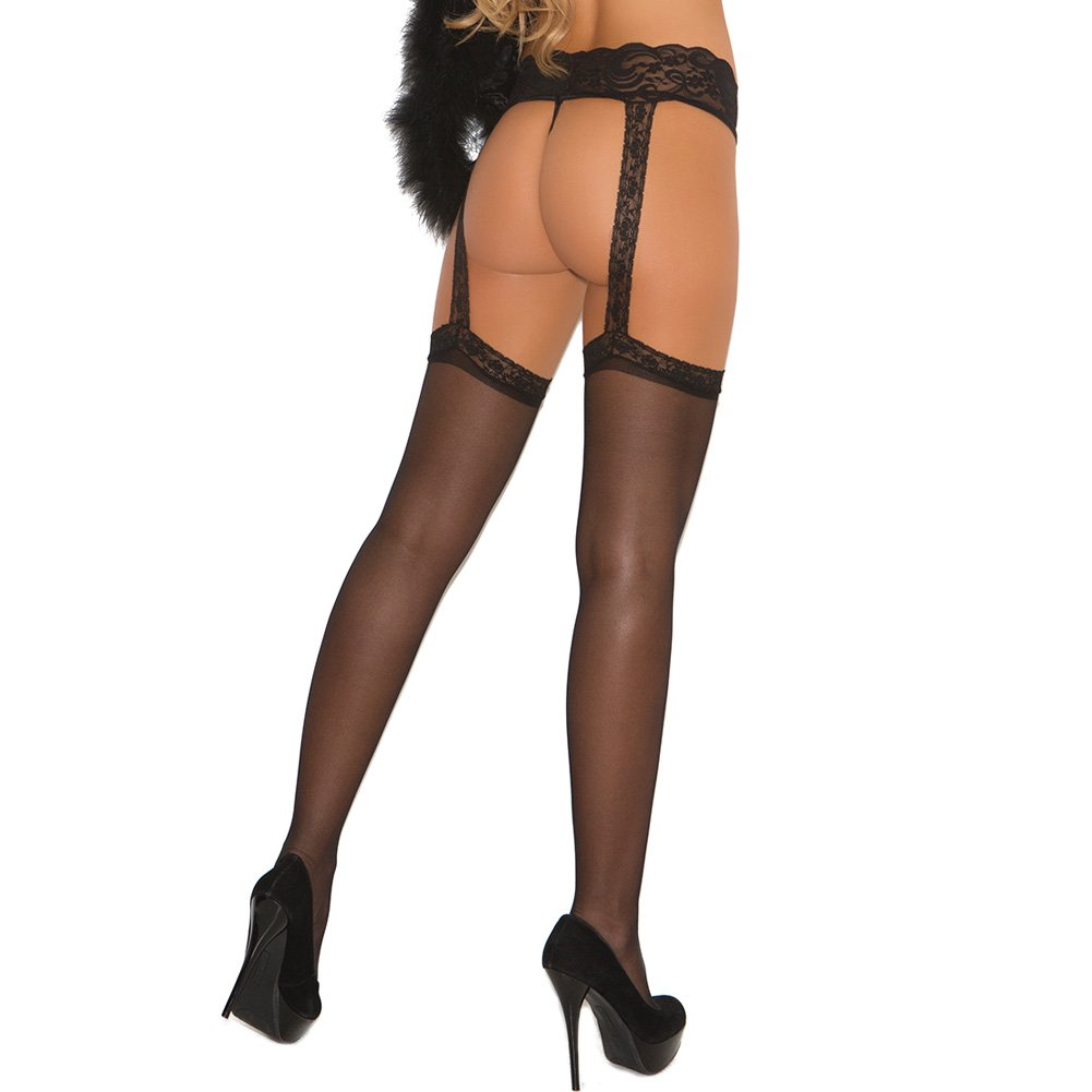 Sheer Thigh Highs with Attached Lace Garterbelt Black One Size - View #2