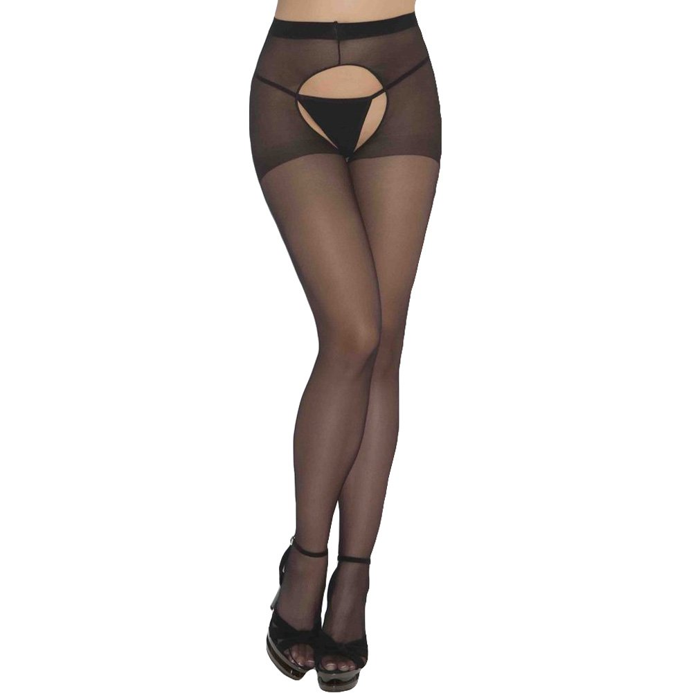 Sheer Crotchless Pantyhose One Size Black - View #1