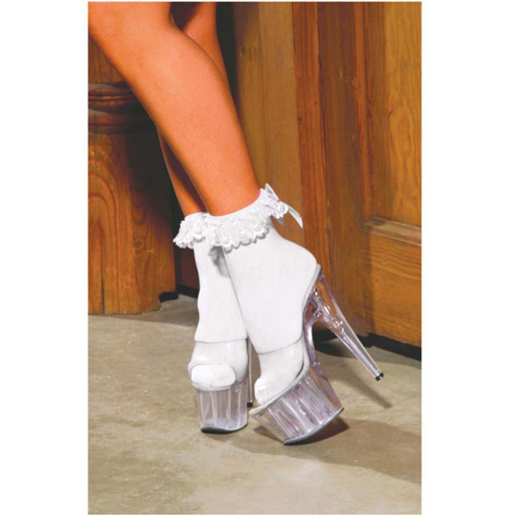 Nylon Anklet with Ruffle and Satin Bow White One Size - View #3