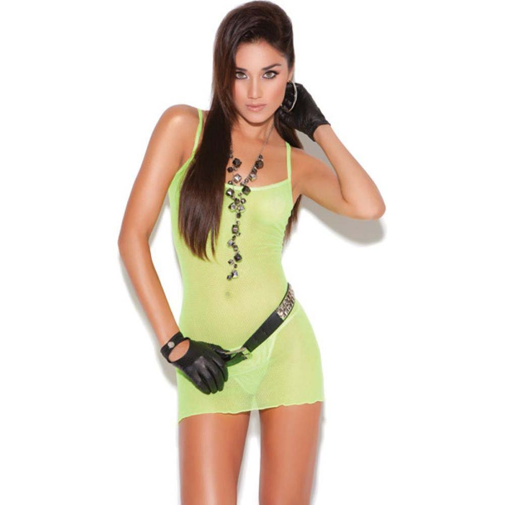 Vivace Fishnet Mini Dress Chartreuse Light Green One Size - View #1