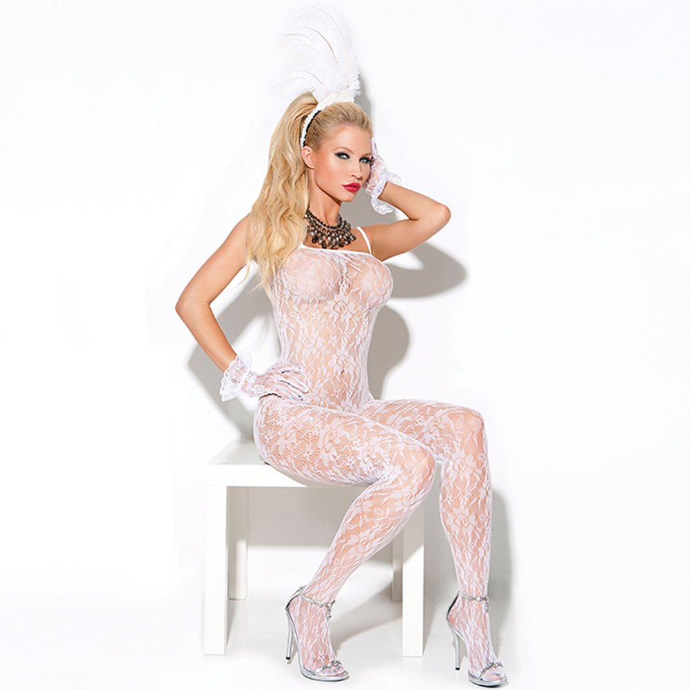 Vivace Lace Bodystocking White One Size - View #1