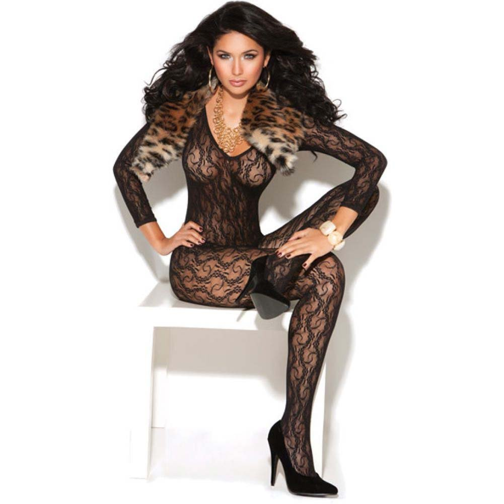 Vivace Long Sleeve Lace Bodystocking Black One Size - View #1