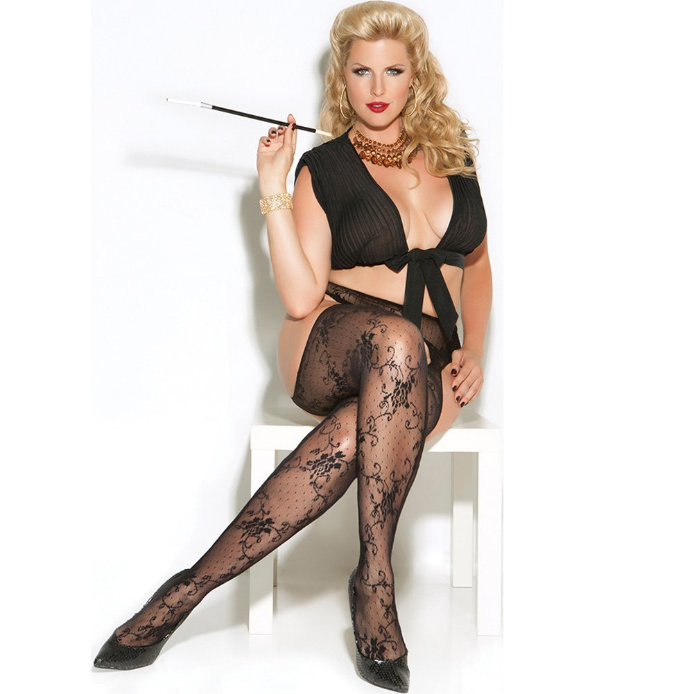 Vivace Lace Suspender Pantyhose Black Queen - View #2