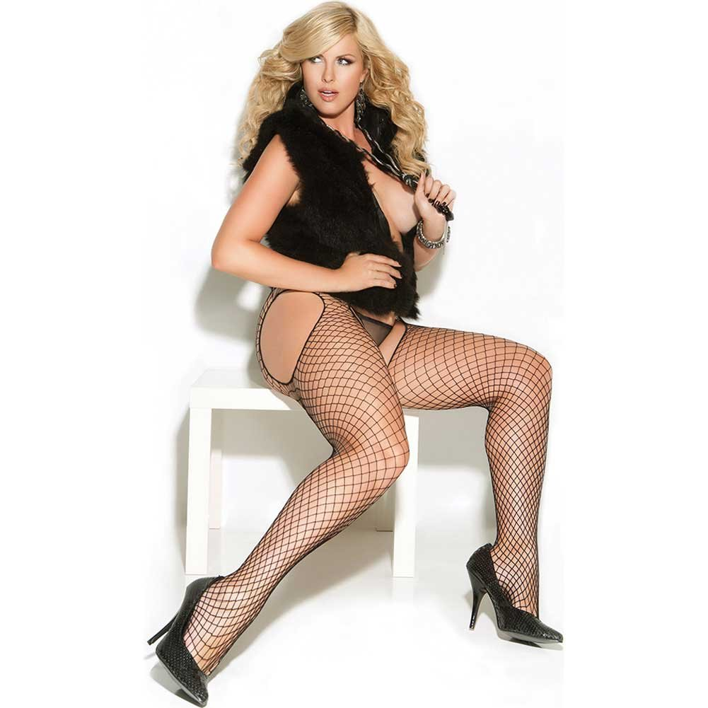 Vivace Diamond Net Suspender Pantyhose Black Queen - View #2