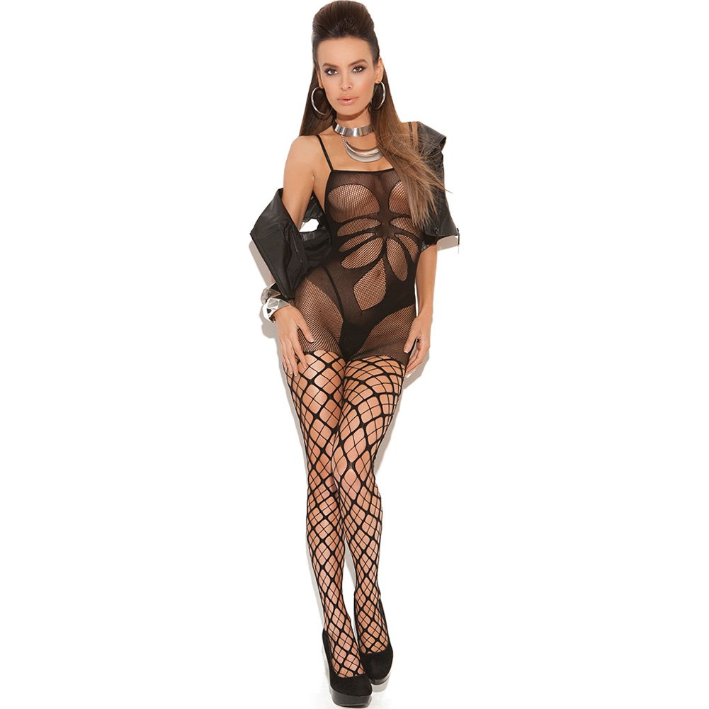 Vivace Seamless Floral Bodystocking with Attached Net Pantyhose One Size Black - View #1