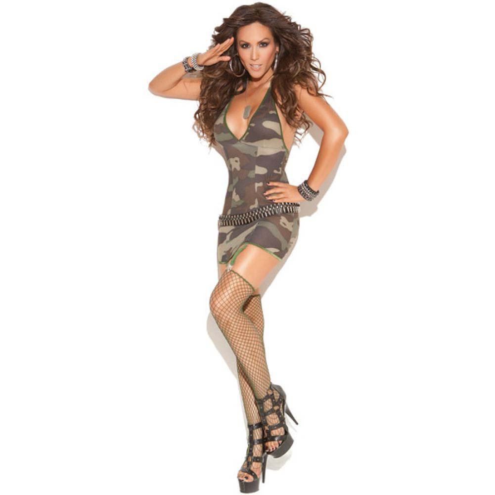 Vivace Mini Dress with Garters Diamond Net Stockings Camouflage One Size - View #1