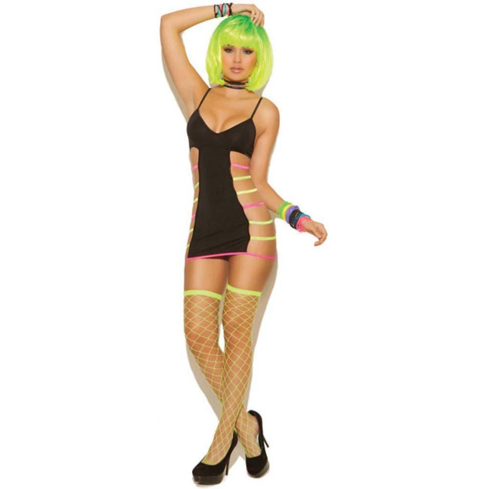 Neon Nites Mini Dress with Neon Straps Black One Size - View #1