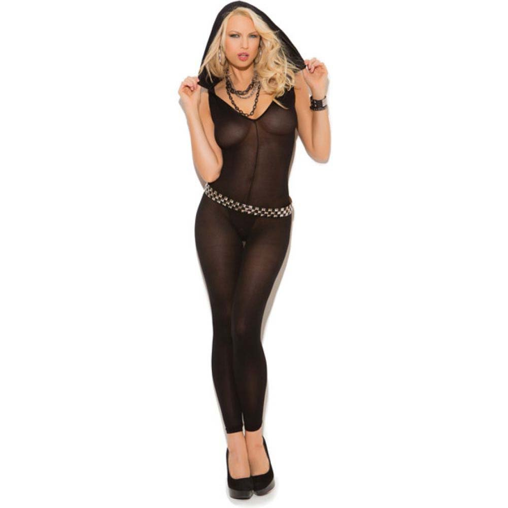 Vivace Opaque Footless Bodystocking with Hood Black One Size - View #1