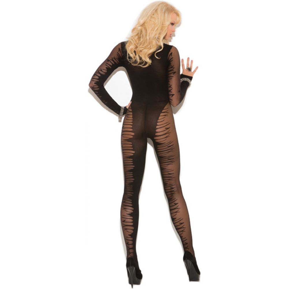 Vivace Fishnet Long Sleeve Sheer Jacquard Bodystocking Black One Size - View #2