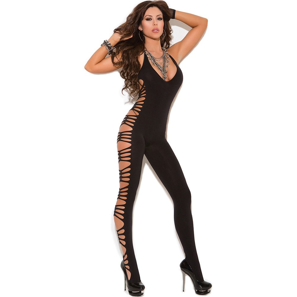 Vivace Deep V Opaque Bodystocking with Cut Out Side Detail Black One Size - View #1