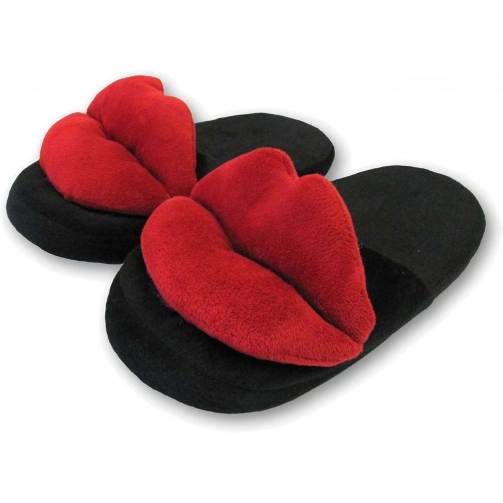 Ozze Hot Lips Slippers Black Red - View #1