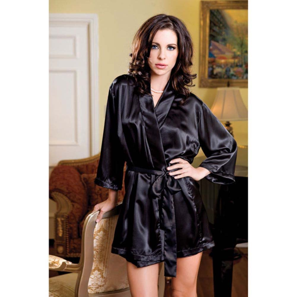Satin 3/4 Sleeve Robe with Matching Sash Black Small Medium - View #2