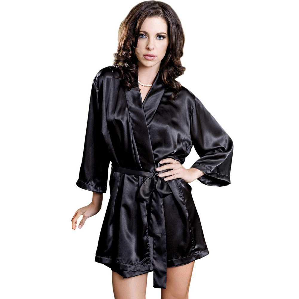 Satin 3/4 Sleeve Robe with Matching Sash Large/Extra Large Black - View #1