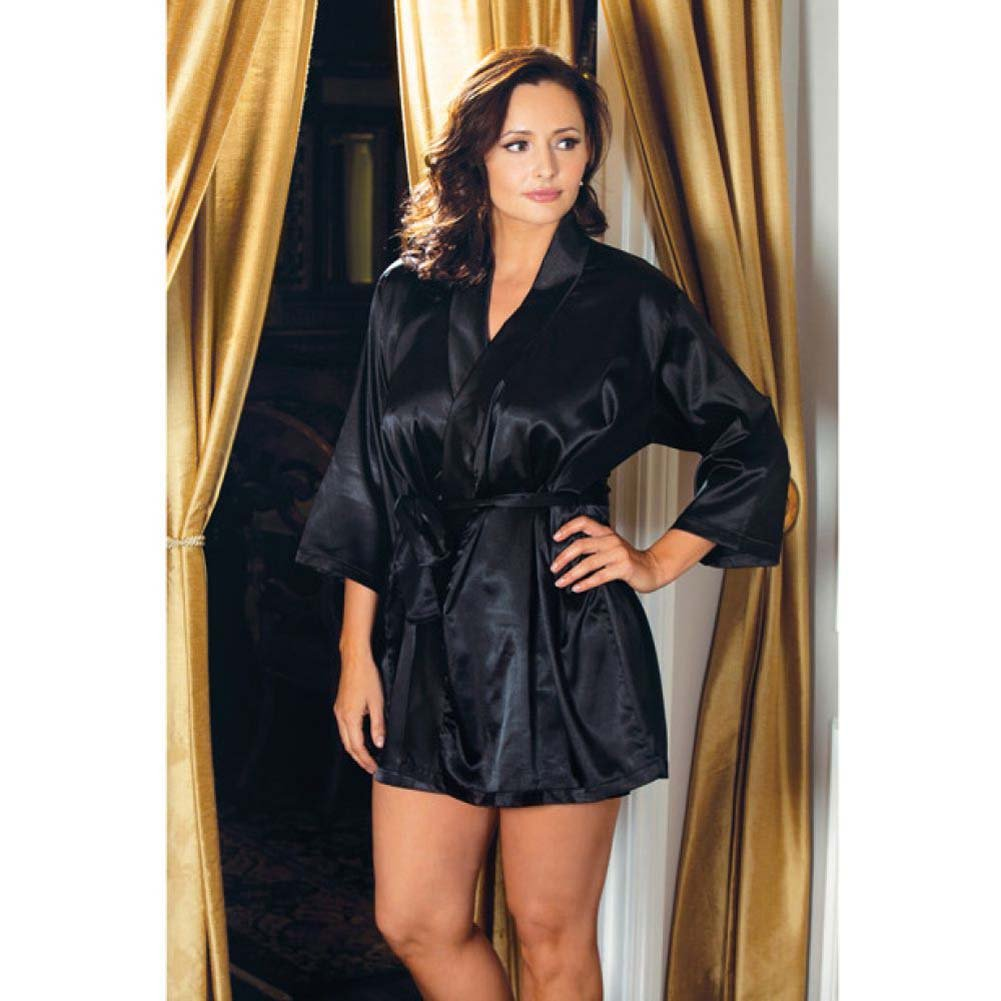 Satin 3/4 Sleeve Robe with Matching Sash Black 1X 2X - View #2