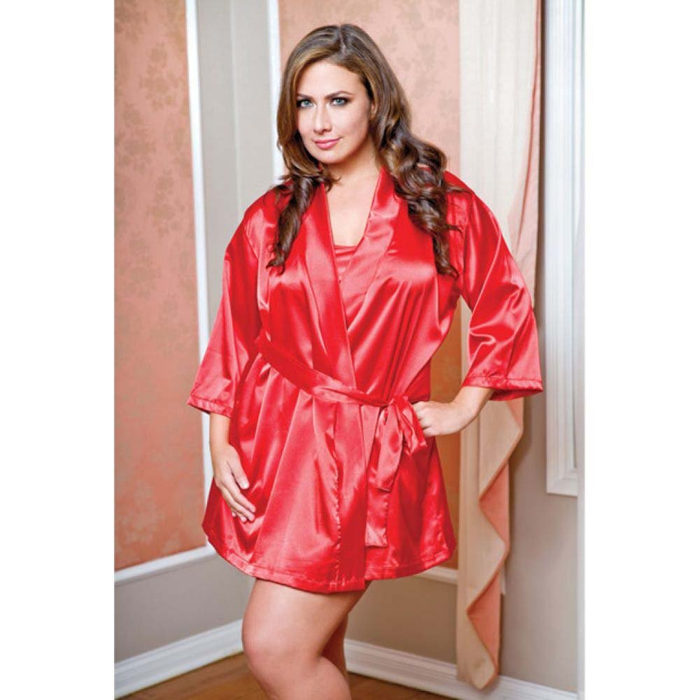 Satin 3/4 Sleeve Robe with Matching Sash Red 3X 4X - View #2
