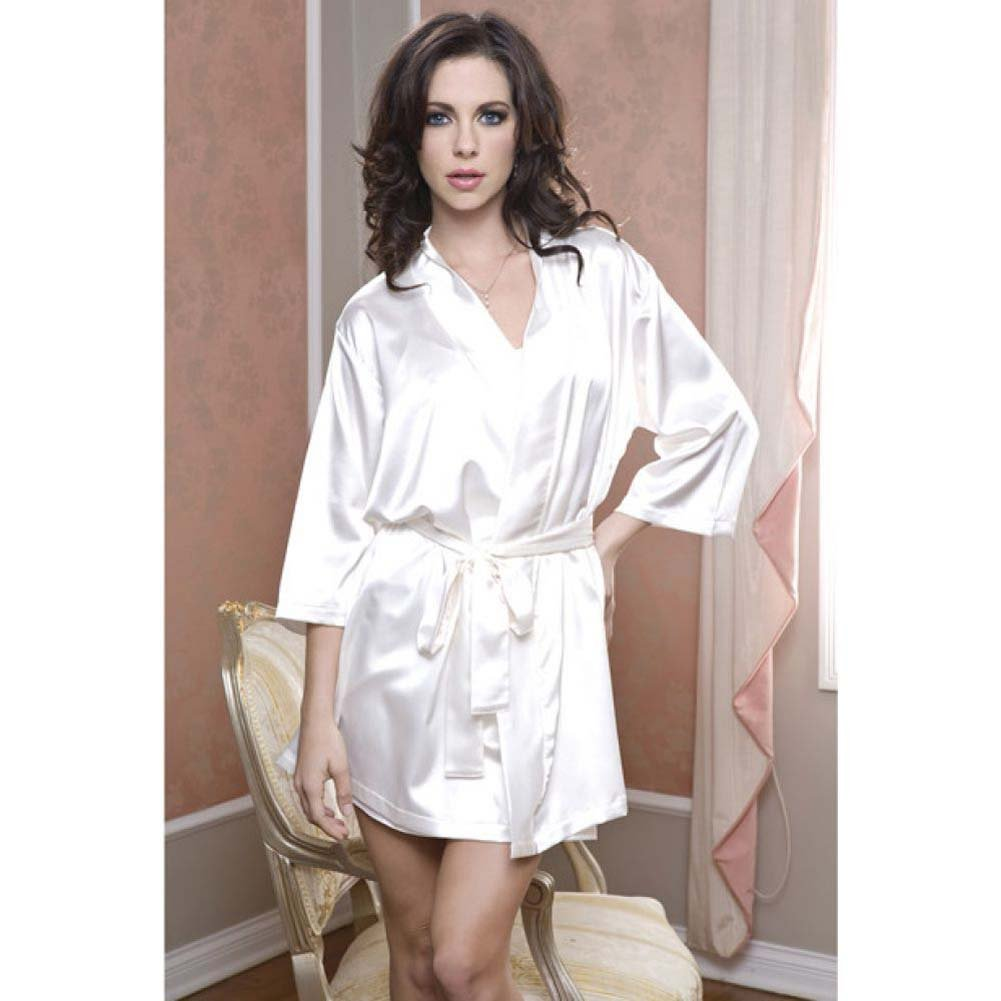 Satin 3/4 Sleeve Robe with Matching Sash White Large Extra Large - View #2