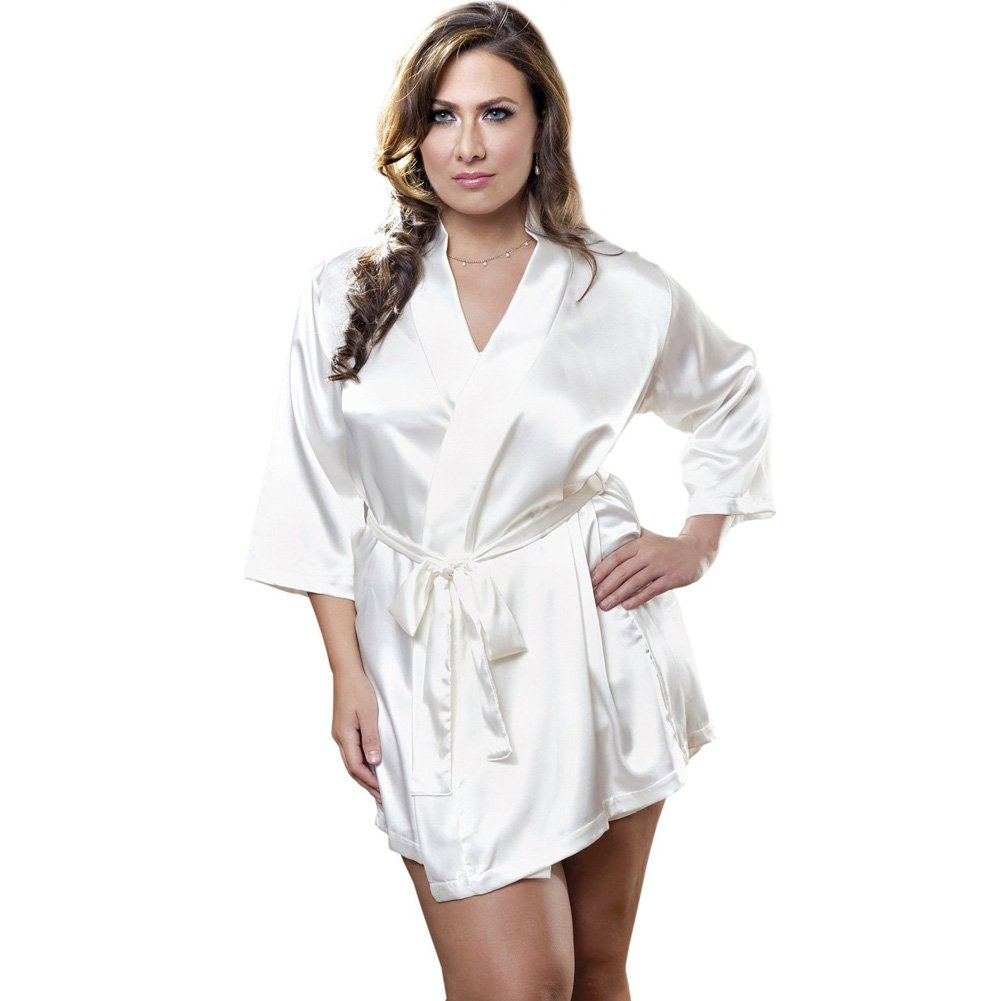 Satin 3/4 Sleeve Robe with Matching Sash White 1X 2X - View #1
