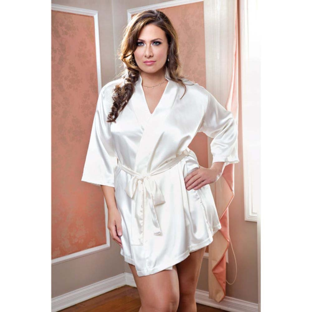 Satin 3/4 Sleeve Robe with Matching Sash White 3X 4X - View #2