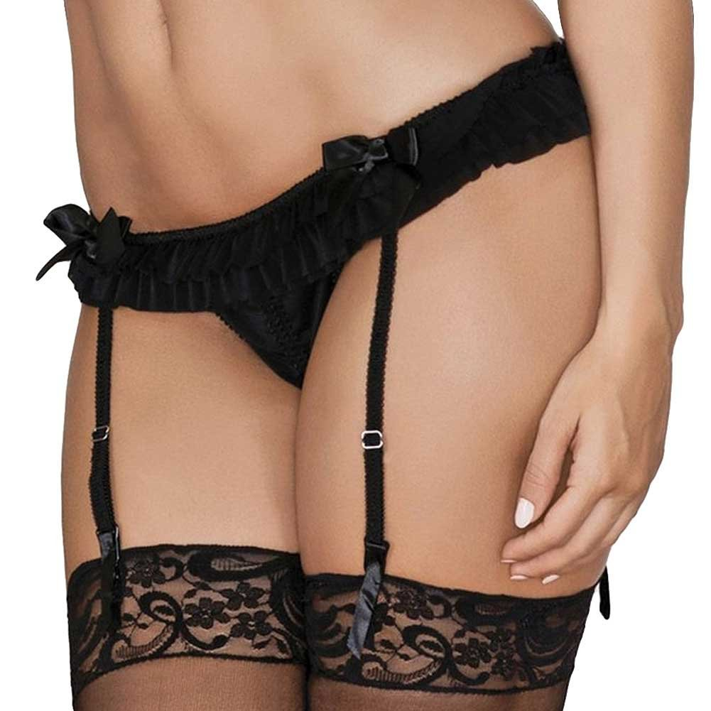 iCollection Lingerie Ruffled Mesh Garter Belt Small/Medium Black - View #1