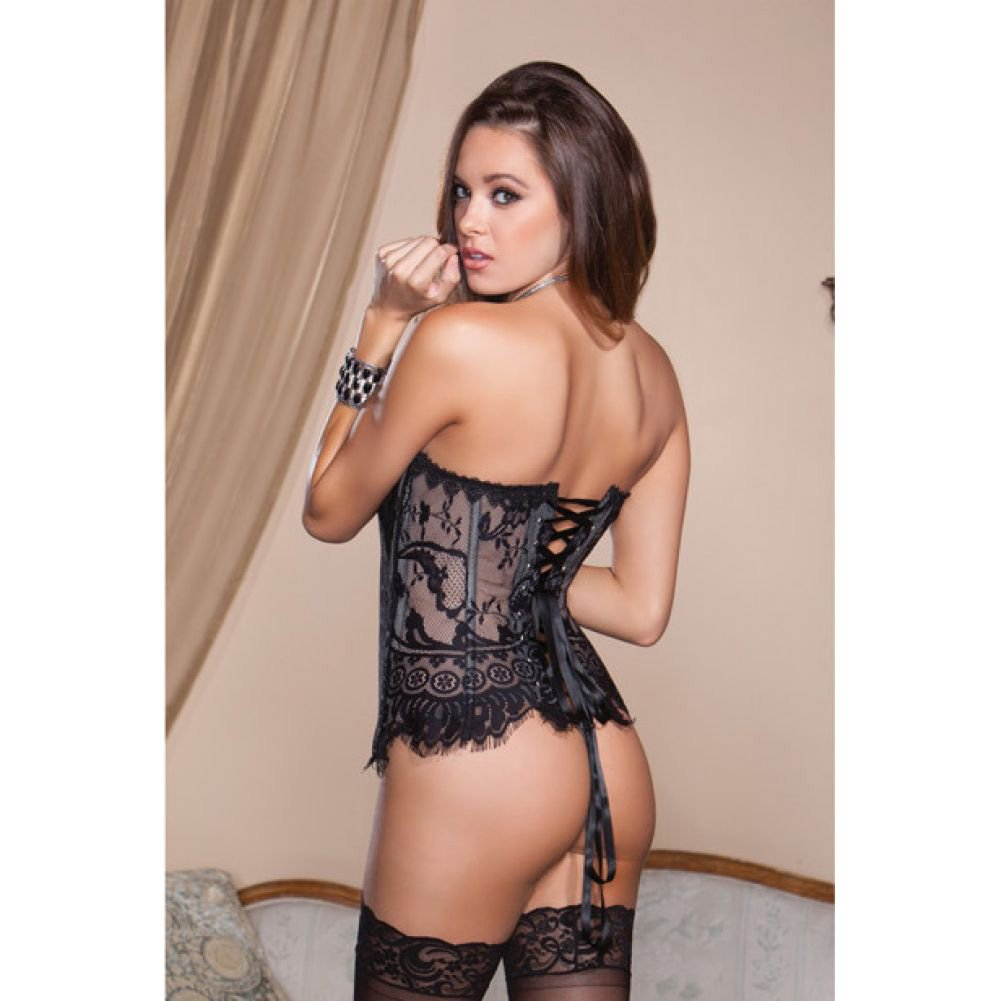 Eyelash Lace Corset with Lace Up Back and G-String Black 36 - View #2