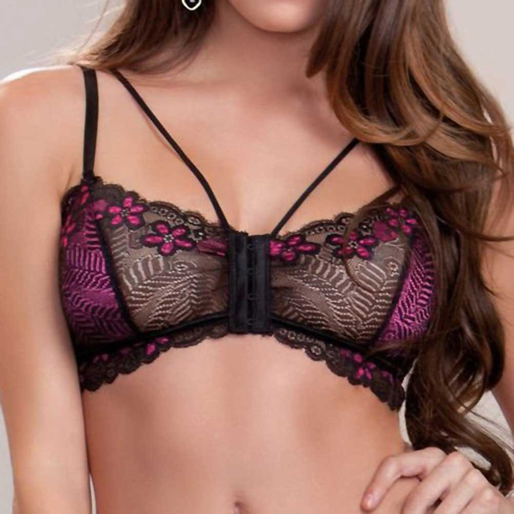 Floral Lace Mesh and Microfiber Bralette with Skirt and G-String Fuchsia Black Small - View #3