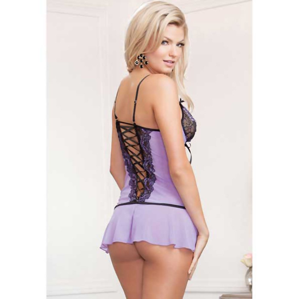 Cross Dye Lace and Flutter Hem Chemise and G-String Set Medium Lavender - View #2
