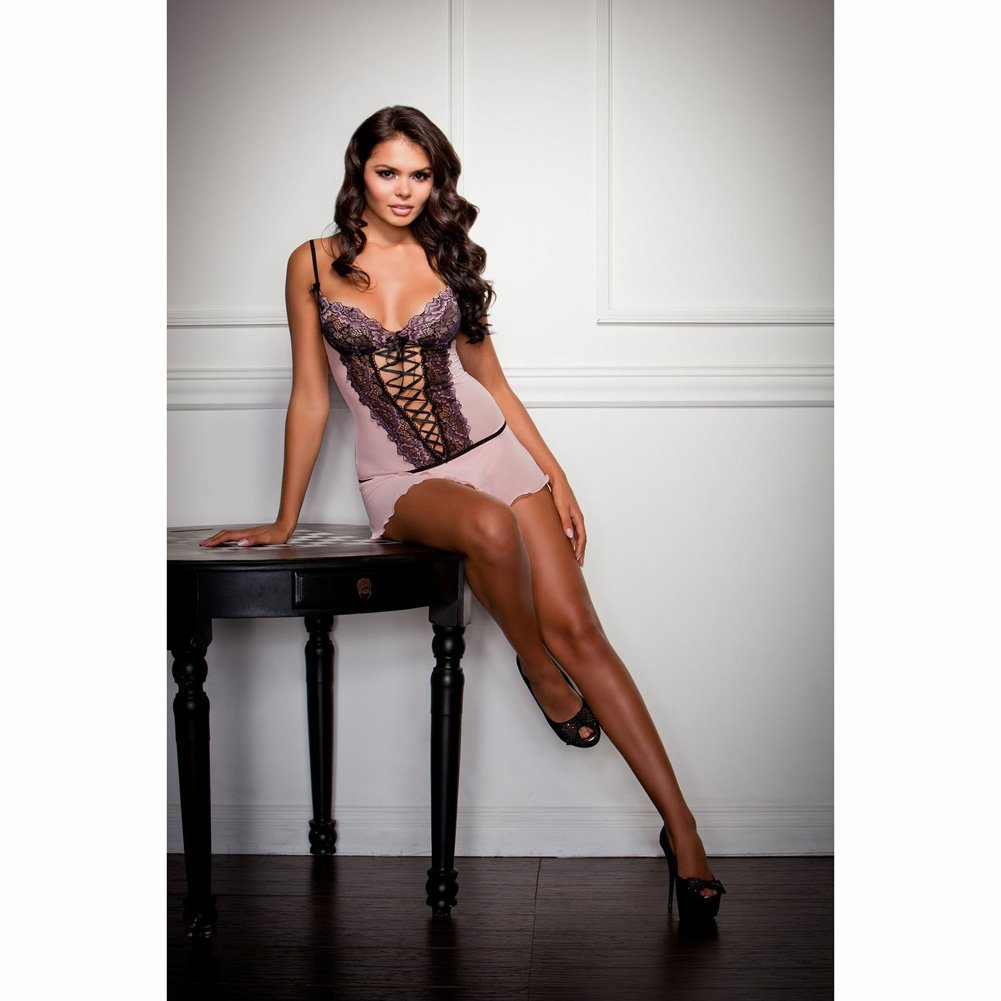 Cross Dye Lace and Flutter Hem Chemise and G-String Set Large Lavender - View #3