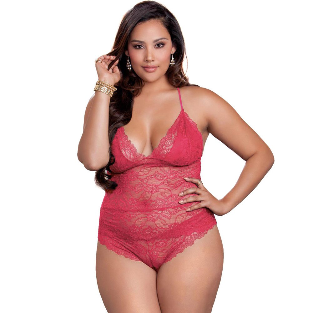 Floral Scallop Lace Cami and Cheeky Bottom Panties Set Plus Size 3X Magenta - View #1