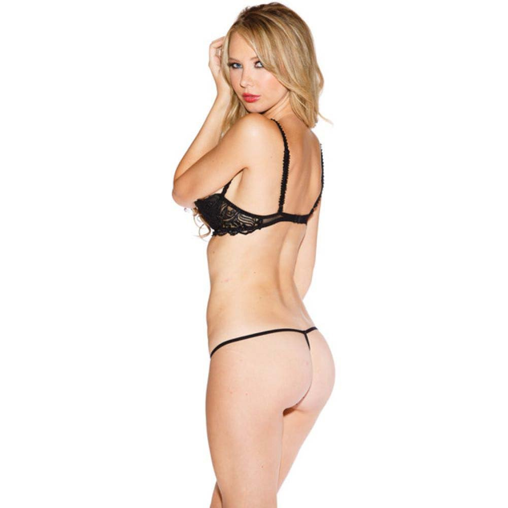 Chopper Bar Shelf Bra with Uplifting Cleavage Adjustable Straps and Back Black 32 - View #2