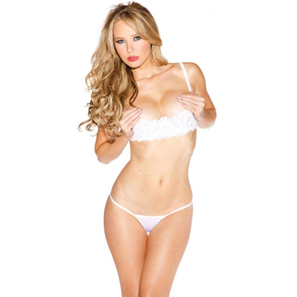 Chopper Bar Shelf Bra with Uplifting Cleavage Adjustable Straps and Back White 44 - View #1