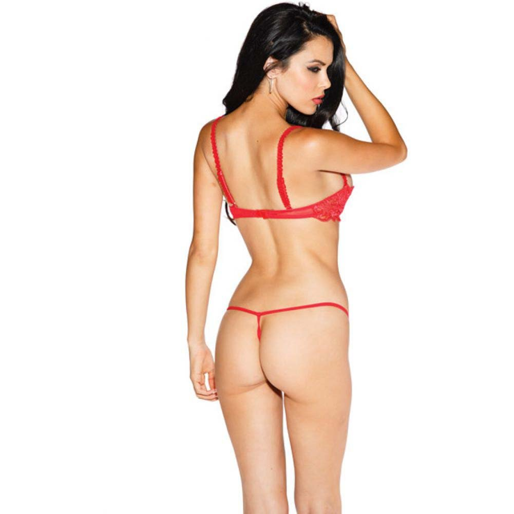 Chopper Bar Shelf Bra with Uplifting Cleavage Adjustable Straps and Back Red 32 - View #2
