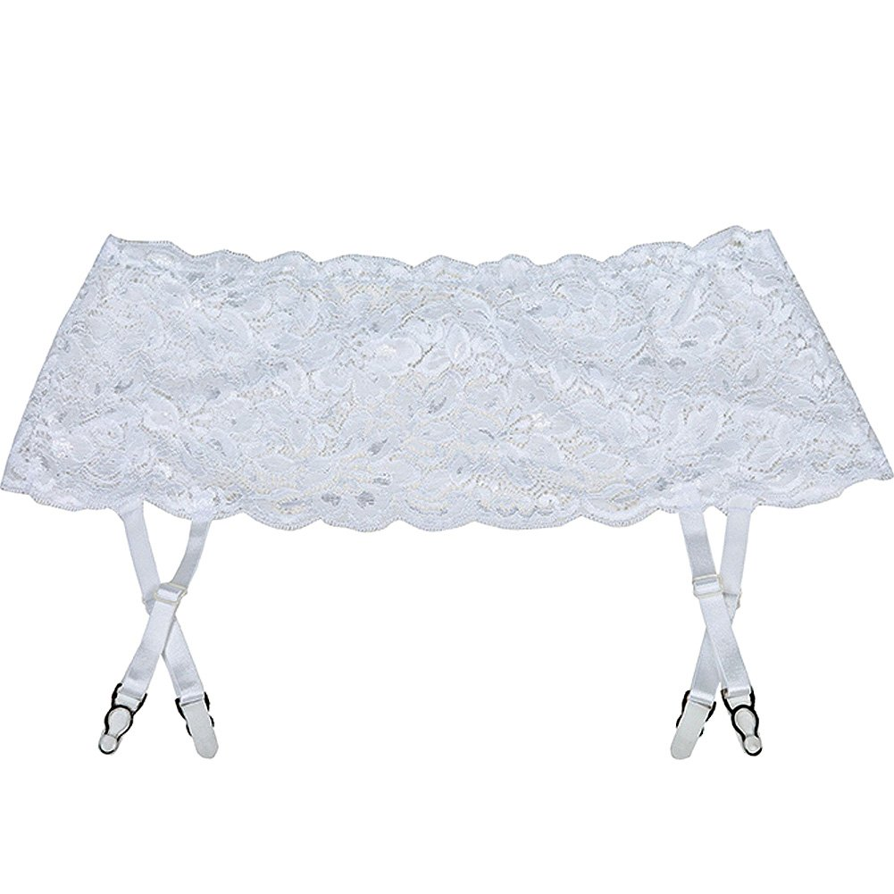 Stretch Lace Garter Belt with Adjustable Garters White One Size - View #2