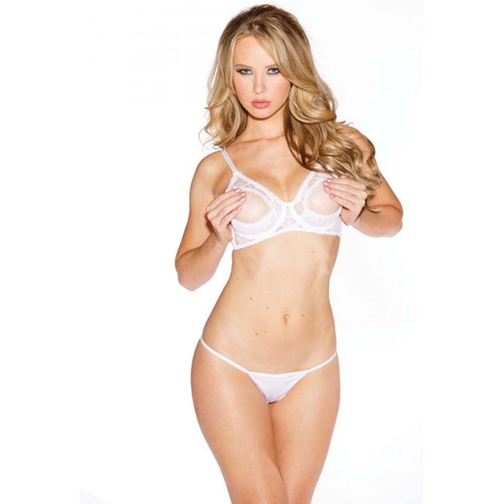 Lace Underwire Open Tip Bra with Adjustable Straps and Back White 34 - View #1