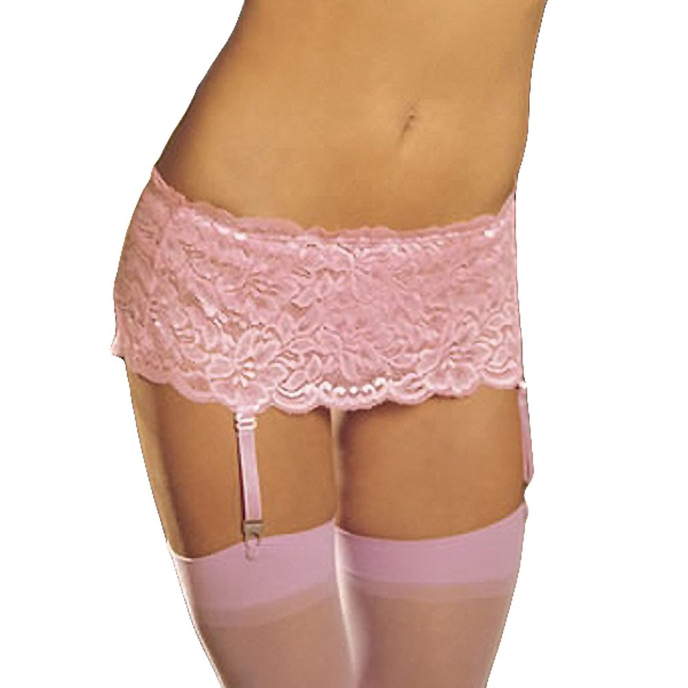 Stretch Lace Garter Belt with Adjustable Garters Pink One Size - View #1