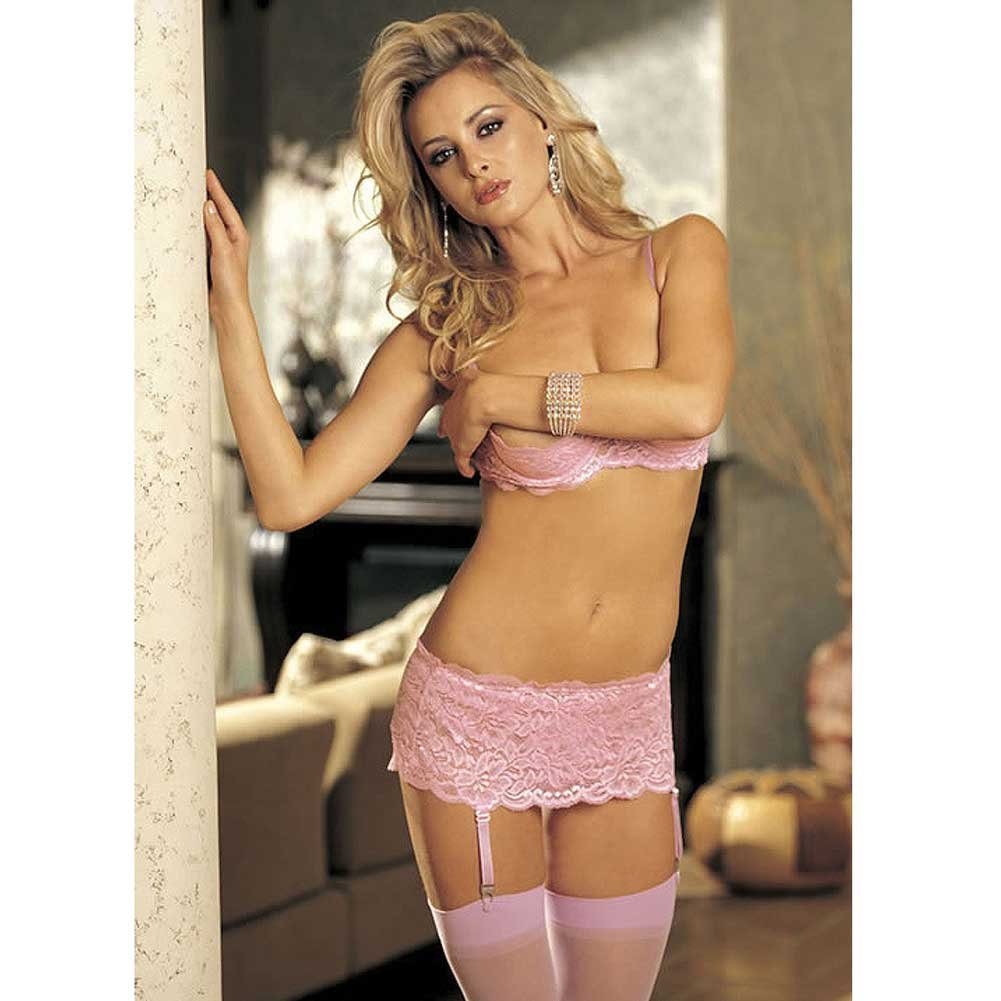 Stretch Lace Garter Belt with Adjustable Garters Pink One Size - View #3