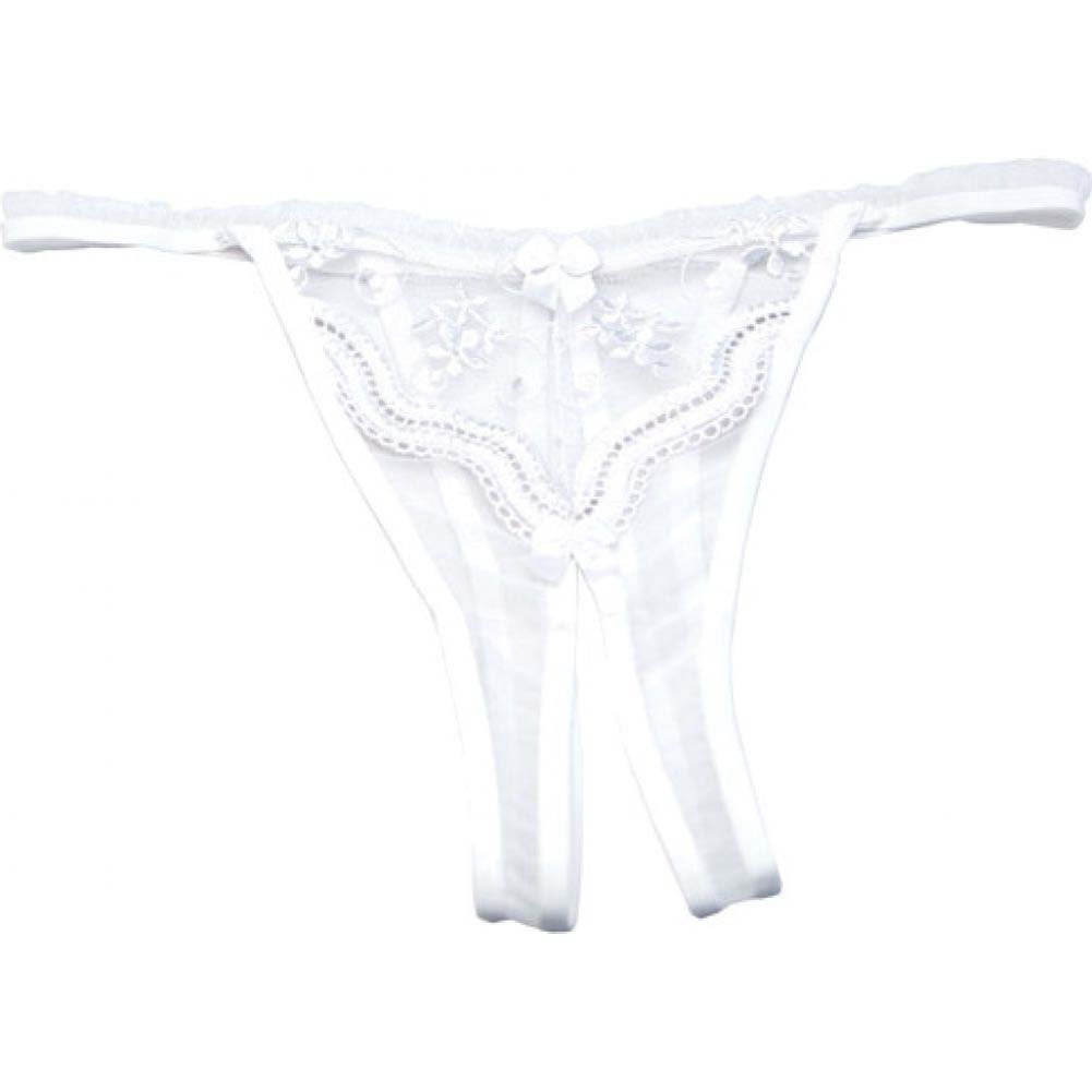 Scalloped Embroidery Crotchless Panty White 3X 4X - View #2