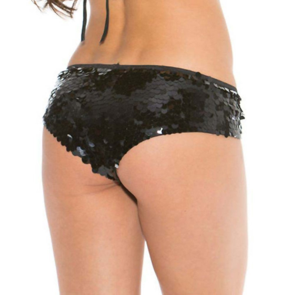 All Over Sequin Booty Shorts Black Small Medium - View #2