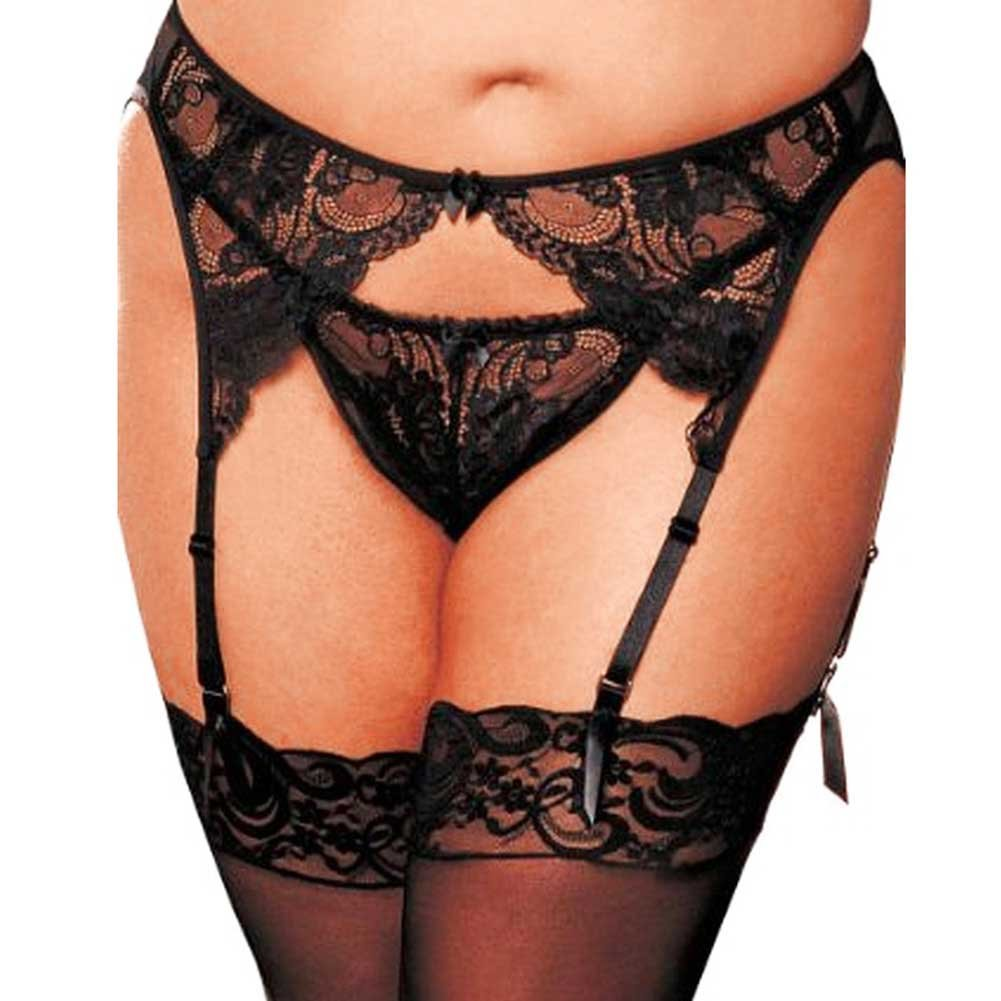 Shirley of Hollywood Stretchy Lace Mesh Garter Belt 1X/2X Classic Black - View #1