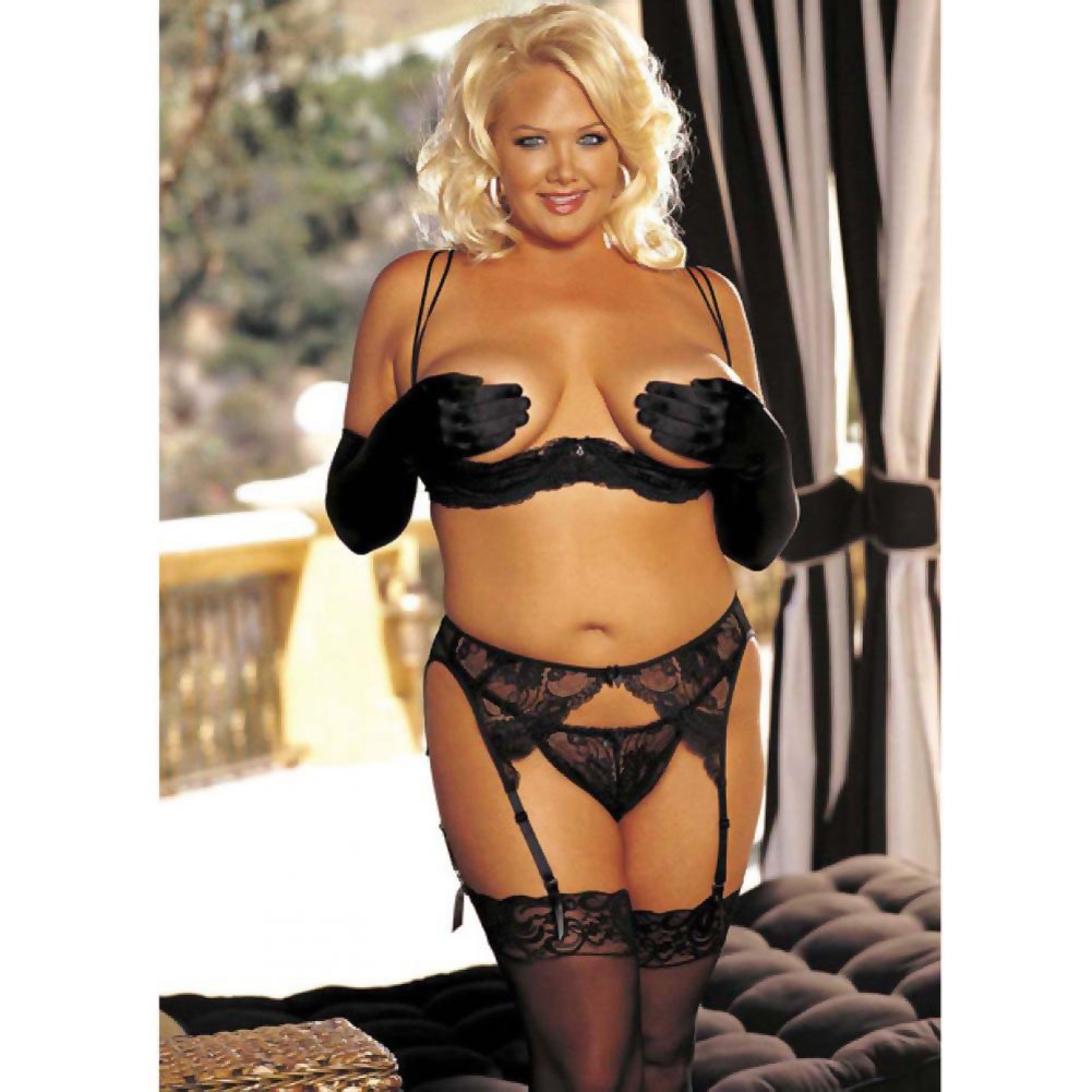 Shirley of Hollywood Stretchy Lace Mesh Garter Belt 3X/4X Classic Black - View #2