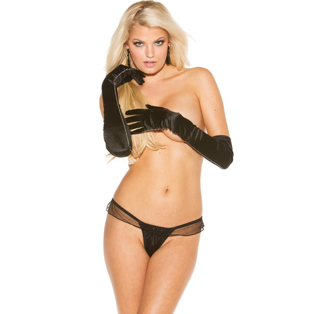 Charmeuse and Mesh Big Bow Thong Black Large - View #2