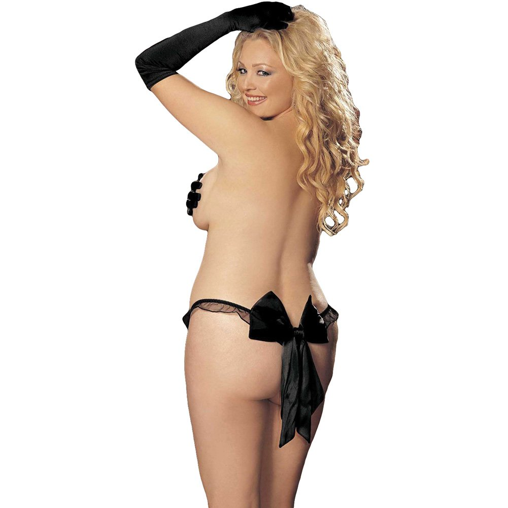 Charmeuse and Mesh Big Bow Thong Black 3X - View #1