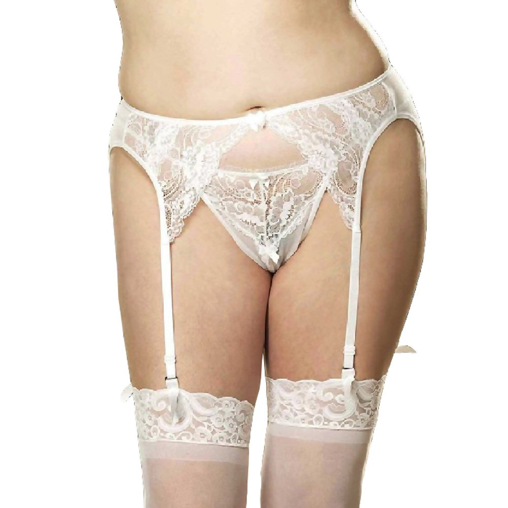 Lace and Stretch Mesh Garterbelt White 1X 2X - View #1