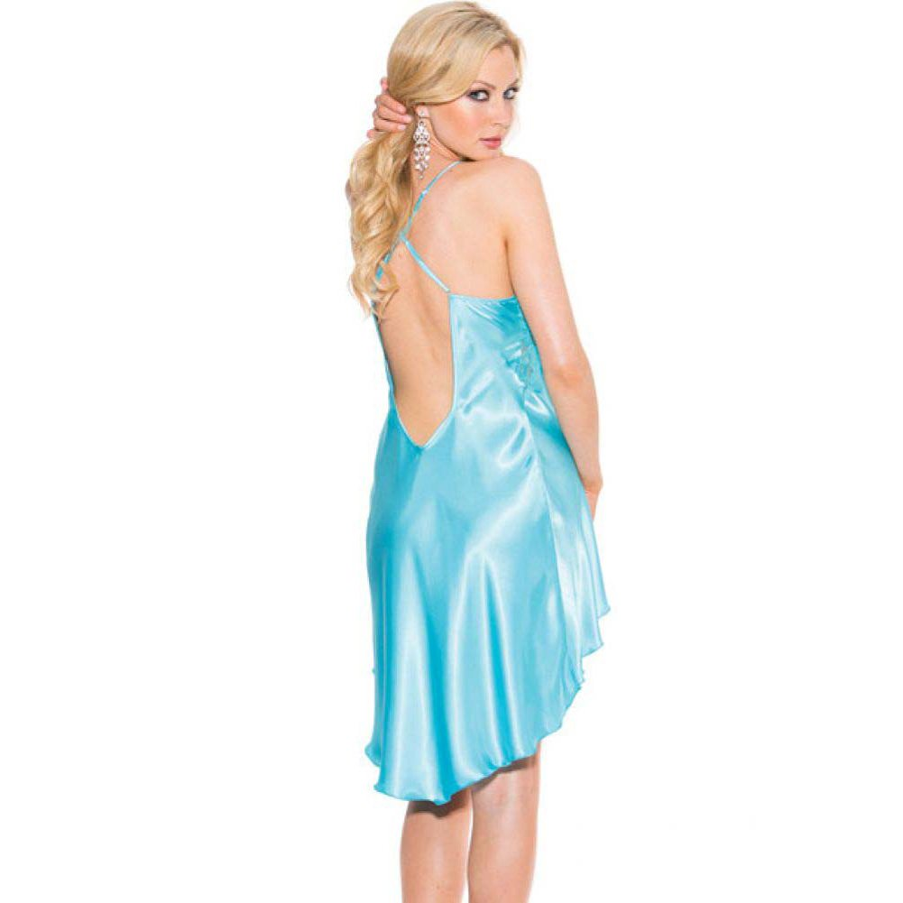 Charmeuse and Lace Chemise with Criss Cross Straps Small Turquoise - View #2