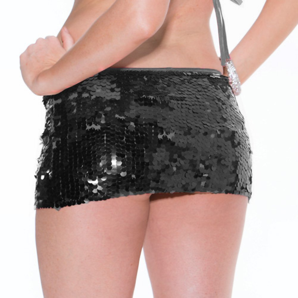 All Over Hand Sewn Sequin Skirt Black Extra Small Small - View #2